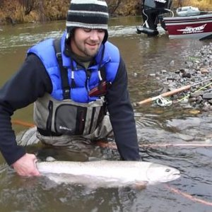 P1000814  my buddy johnny and his very first steelhead i got him into
